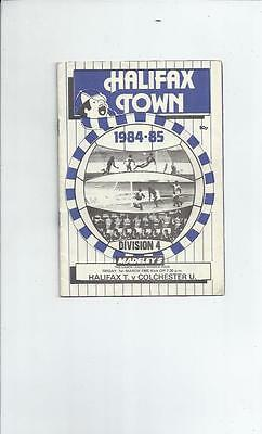 Halifax Town v Colchester United Football Programme 1984/85