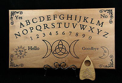 Ouija Board & 3D Planchette - African Sapele Wood - Triple Moon Triquetra Witch