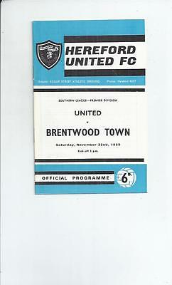 Hereford United v Brentwood Town Football Programme 1969/70