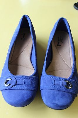 Clark's suede blue leather upper shoes, flats, size 7W, worn once