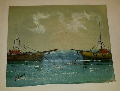 11X14 Vintage Unframed Oil On Canvas Unframed Boats Painting