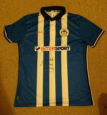 Dave Whealan Fa Cup Winner inscription Wigan Athletic signed shirt PROOF AFTAL