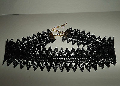 """BLACK VICTORIAN STYLE LACE CHOKER  gold plated fittings ''13"""" - 15"""" ADJUSTS SEXY"""