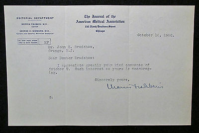 Morris Fishbein {1889-1976} JAMA Editor Signed 1926 Letter Famous Physician