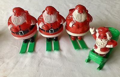 4 Vintage Plastic Christmas Candy Containers Santa Skies Sleigh  ROSBRO 1950's
