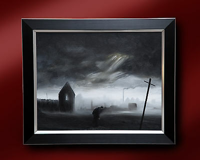 Mp Elliott Original Oil Painting 'new To Town' Northern Artist Lowry Grimshaw