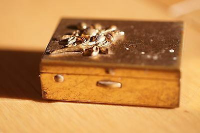Small Metal Trinket / Pill Box Gold Tone With Flower Applied Vintage Hinged Box