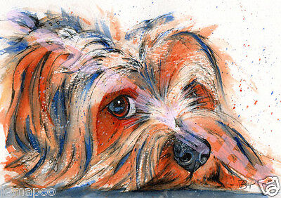 YORKSHIRE TERRIER Art Pup Dog PRINT of ORIGINAL WATERCOLOUR Painting by Josie P