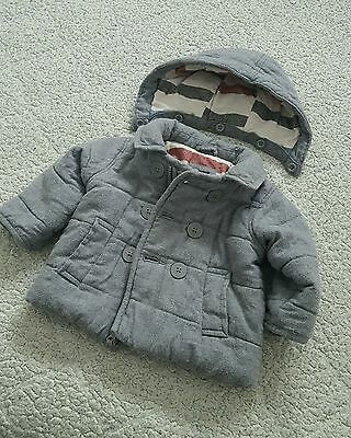 Baby Gap Boy 6-12 Month Puffer Peacoat - Grey - Removable Hood - Used