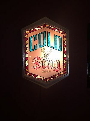 OLD STYLE GRIESEDIECK 3-D STAG BEER SIGN LIGHT Brewing Deer Buck Stained Glass