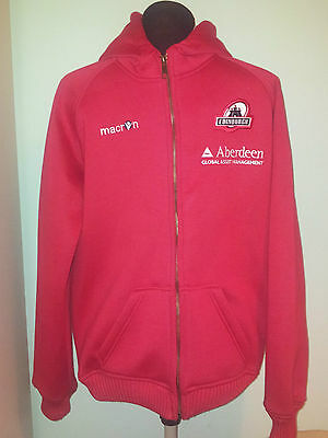 Official Macron Edinburgh Rugby Union Long/sl Zip-Up Hoodie Top Size Adult Small