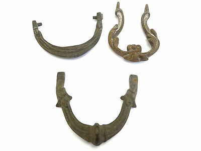 Antique Lot Old Metal Bronze & Cast Iron Ornate Front Door Knocker Handles Parts