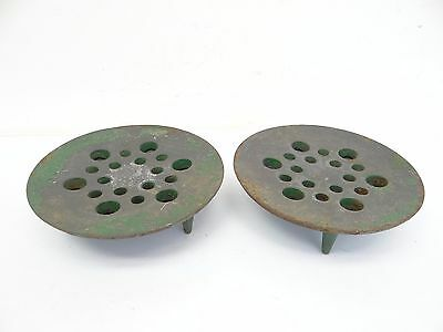 Pair of Two Decorative Cast Iron Green Three Legged Flower Frogs Plant Stands