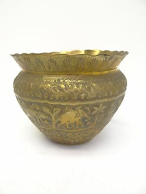 Antique Brass Crossed Hallmark Decorative Elephant Caribou Middle East Planter