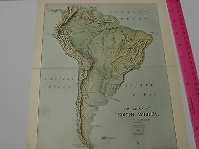 1903 Physical Map of South America- FREE SHIPPING