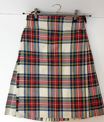 "Ex Hire 28"" waist 25"" drop Stewart Dressed  6 Yard Wool Kilt A1 Condition"