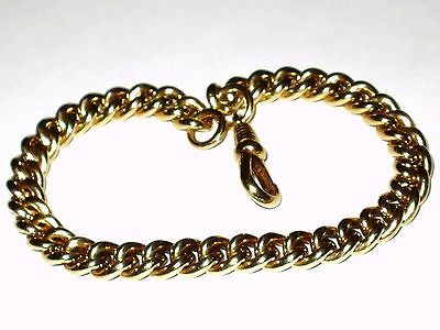 Antique Edwardian  9Ct Rolled Gold Graduated Curb Bracelet With Dog Clip