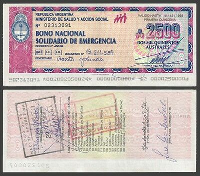 Argentina 2500 Australes 1989 EMERGENCY auction !