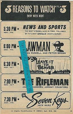 1964 5 Shows Tv Guide Ad Clipping Tv Weekly Rifleman Beaver Lawman Ktla5