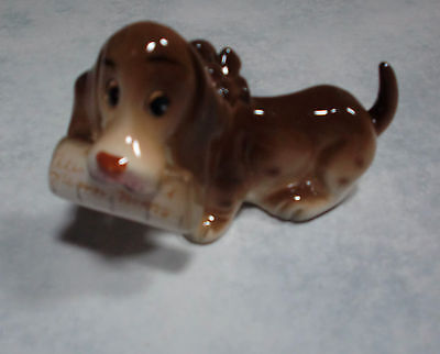 RARE Dog/Puppy Figure SUPER Kitsch Vintage Hound or Beagle with Bow & Newspaper