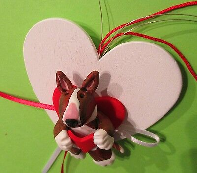 English bull terrier, heart decoration, hang on tree or wall,heart 8 cm,