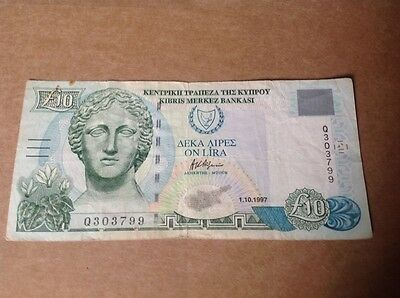 10 Cyprus pounds banknote dated 1997