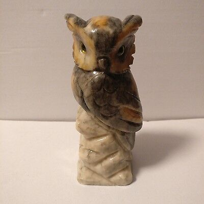 Vintage Carved Marble Onyx Owl Ornament Bookend Sculpture