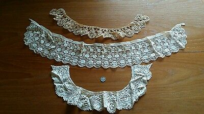 Lot Of 3  Antique Lace Collars Hand Made Lace