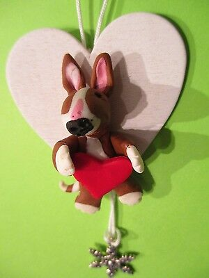 English bull terrier, heart decoration, hanging thread,with snowflake charm