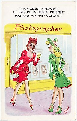 PHOTOGRAPHER'S SHOP - Girl Done In 3 Different Positions - c1950s era postcard
