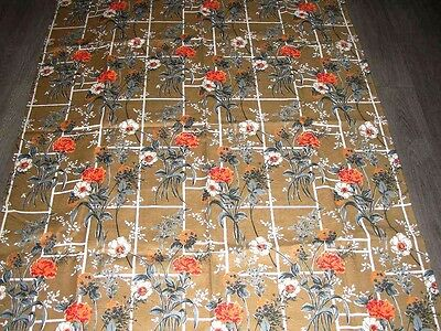 vintage 50s brick wall flower textured cotton fabric length