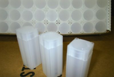 110 square plastic half-dollar coin tubes - once used