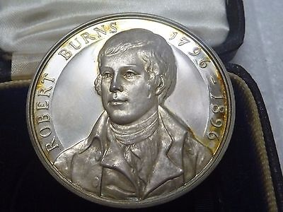 vintage SILVER -- ROBERT BURNS medal in case and numbered
