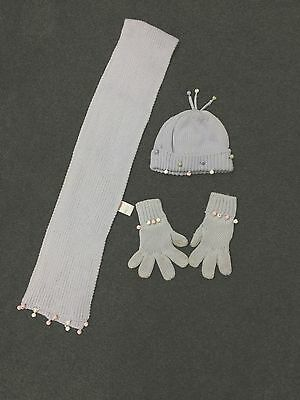 Gymboree * Winter Princess * Knit GINGLE BELL Hat Scarf Gloves * Girls 3-4 5-7
