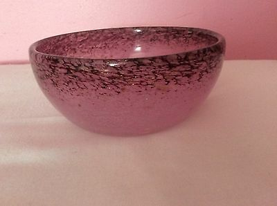 Monart Glass Bowl Mottled Purple And Pink With Gold Inclusions