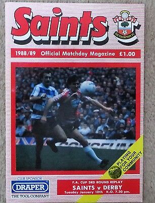 Southampton v Derby County - FA Cup Replay - 1989 - Football Programme