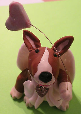 English bull terrier, angel fairy bullie with heart and charm, 8cm, unique,