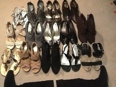 15 pairs of women's shoes,boots,heels,wedges,claiborne,madden,etc.mostly size 11