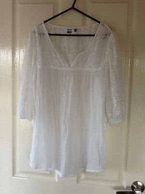 Alessi Ladies White Lace Tunic Top Blouse Size S
