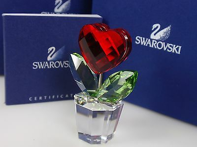 Swarovski Heart Flower, Red Retired 2005 Mib #828014