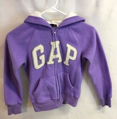 GAP KIDS Purple Logo Zip up Fleece Jacket SIZE 8(M) EUC