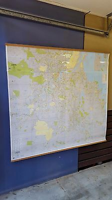 Large 1996 BRISBANE Area Wall Map ( 165cm x 152cm ) Laminated Wooden Hanger