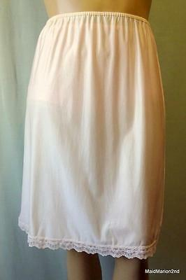 VINTAGE SILKY SHEER PEACH NYLON HALF SLIP XL UK 20/22     j