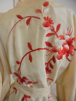 Vintage Tan Silk & Embroidered Red Floral Kimono One Size Fits Most