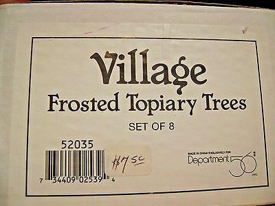 Dept 56 Snow Village Frosted Topiary Trees set of 8 52035