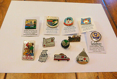 Lot of 12 American Red Cross Lapel Pins - Most ARC Chapter Tacks