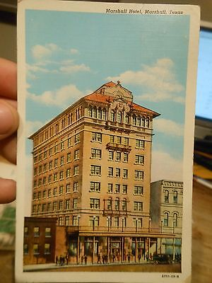 Vintage Old TEXAS Postcard Marshall Hotel Downtown to Cynthiana Ross County Ohio