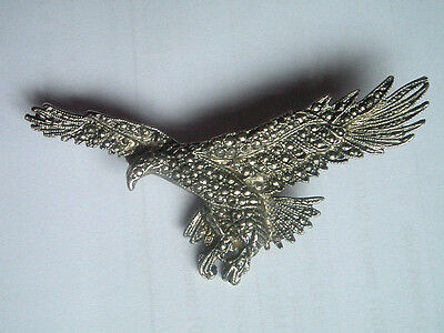 Pewter Type Marcasite Eagle Brooch / Pin / Badge
