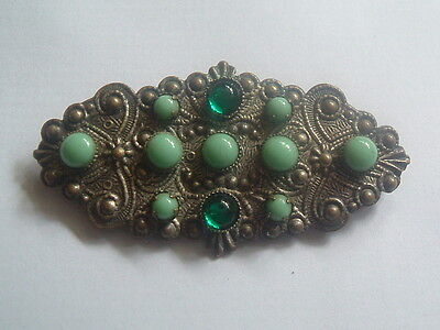 """LATE VICTORIAN / EDWARDIAN EMBOSSED GILT & GREEN TURQUOISE BROOCH 2"""" (5.4cm)"""