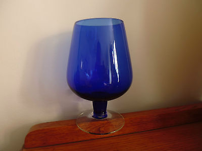 Vintage cobalt blue brandy glass with clear foot